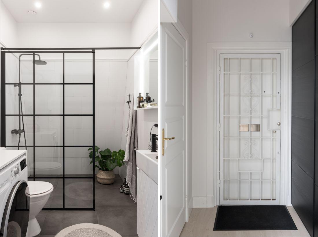 Szklana ścianka z czarną kratownicą w łazience