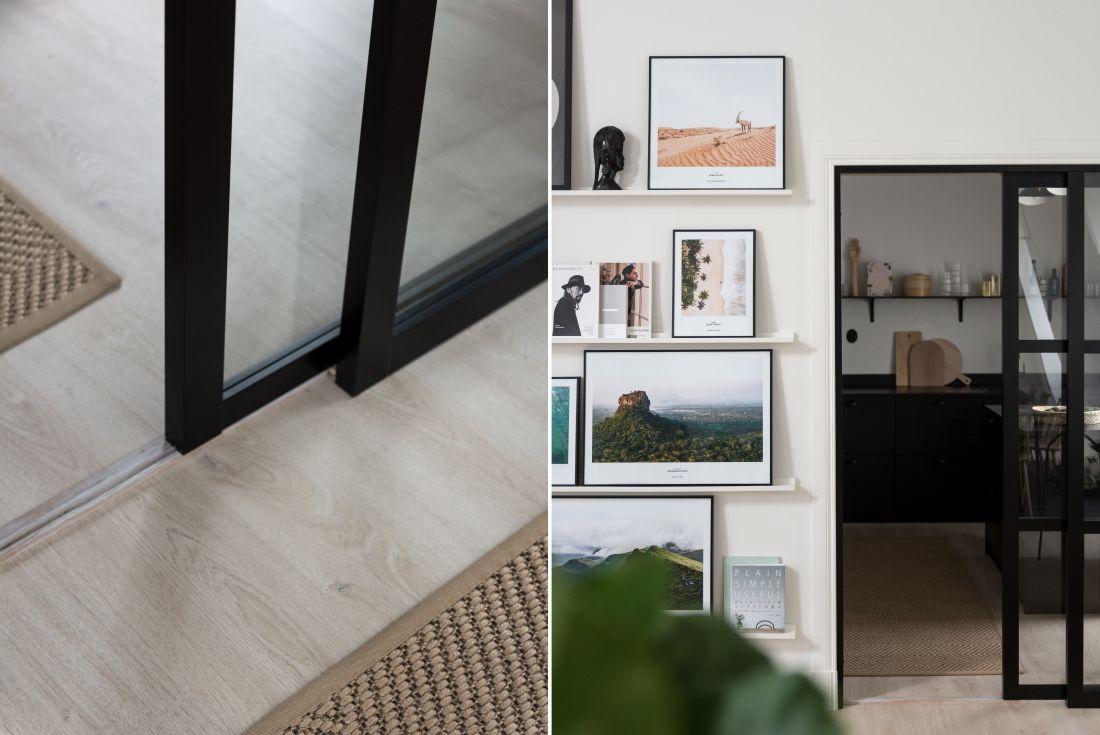 Szklane drzwi ze stalowymi czarnymi szprosami