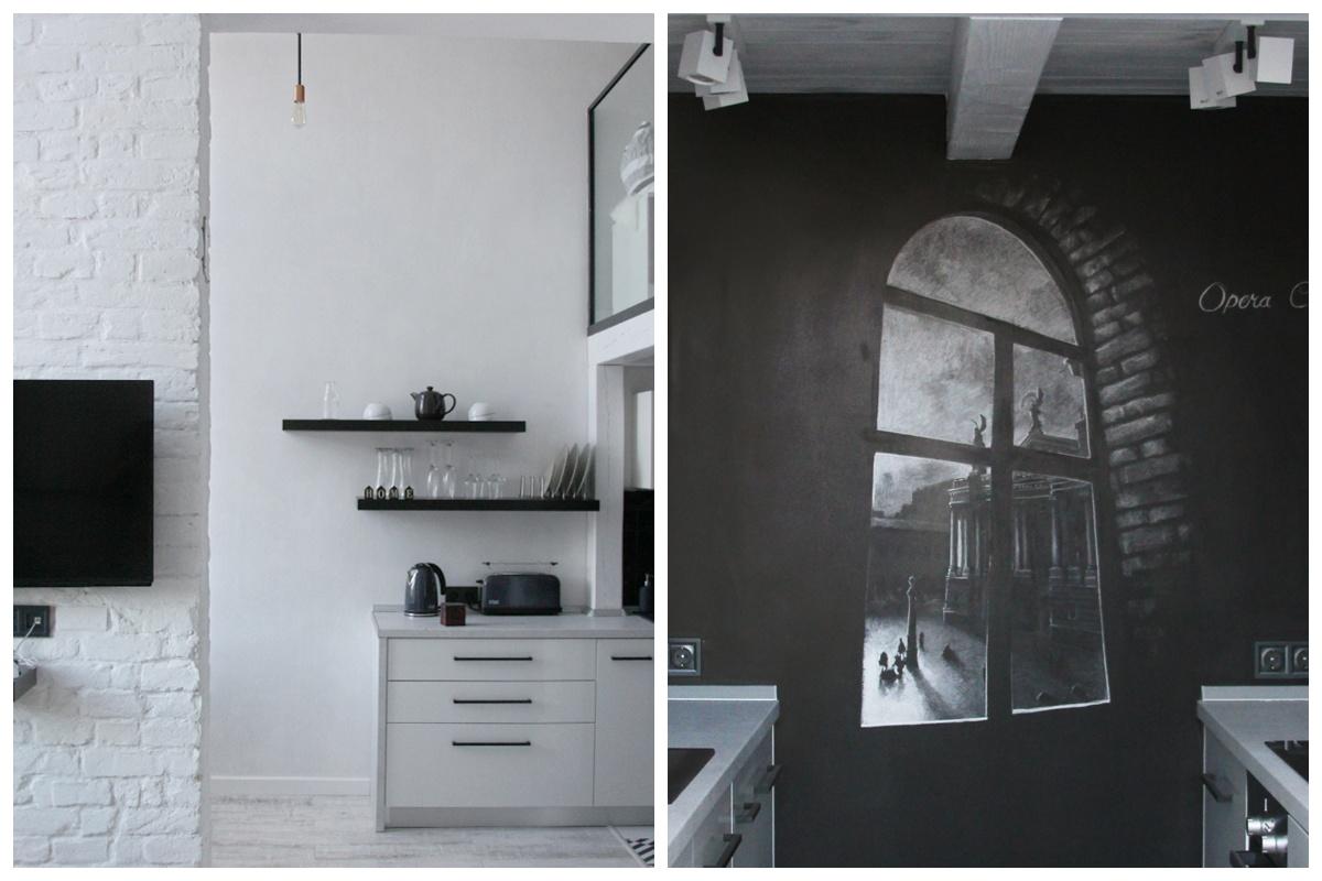 Czarna ściana z rysunkiem