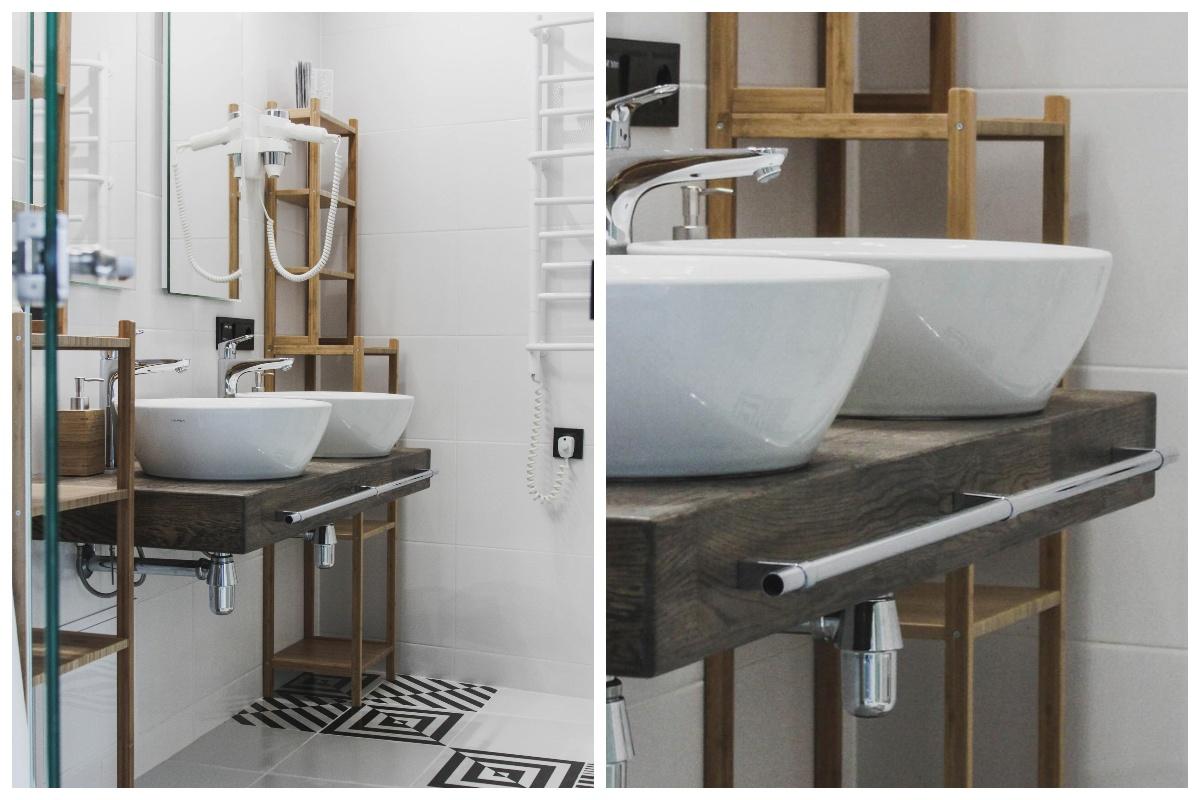 Łazienka z drewnianymi dodatkami
