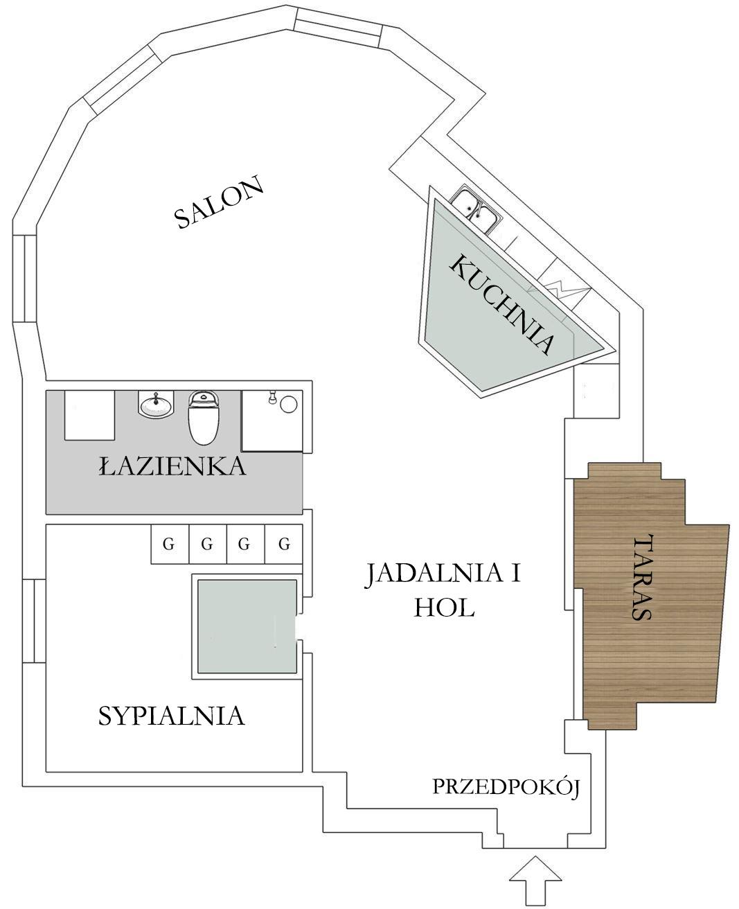 Układ mieszkania ze skosami