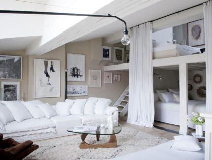 Biały loft z antresolą