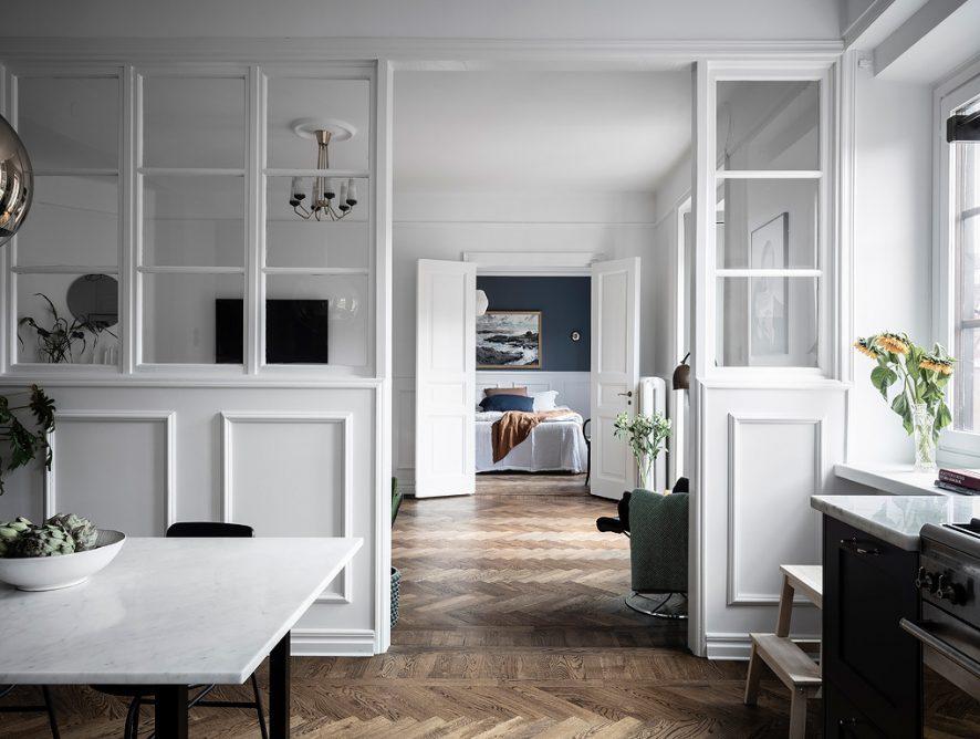 Elegancki apartament z pogranicza stylu skandynawskiego i francuskiego
