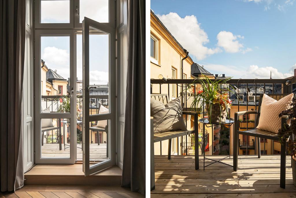 Balkon w kamienicy z widokiem na dziedziniec