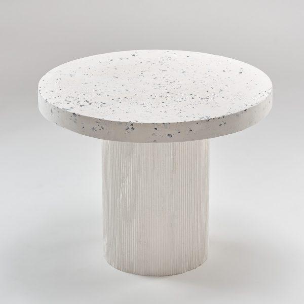 Okrągły stolik kawowy lastryko na białej nodze