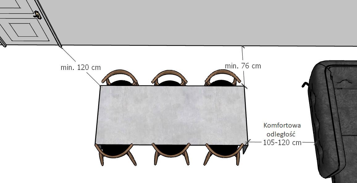 Jaka odległość stołu od ściany i mebli